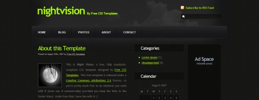 Night Vision XHTML And CSS Template