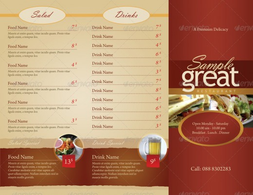Inspirational food menus designs designdune