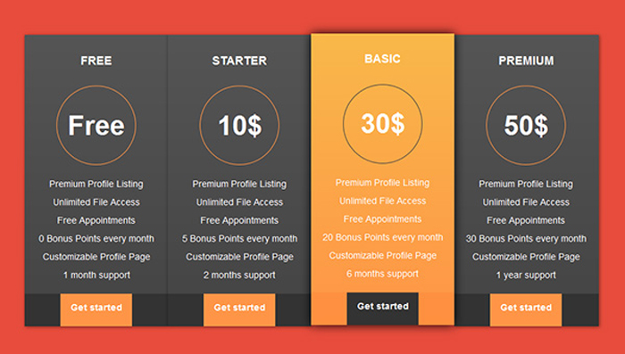 15 excellent free html css pricing table templates for Table design template css