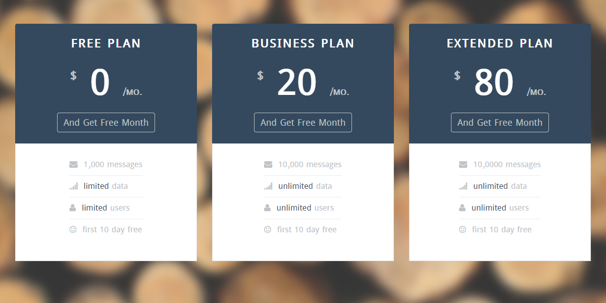 15 excellent free html css pricing table templates for Table design ui